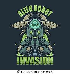 Alien Robot invasion vector illustration