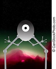 Alien Robot - An illustrated cartoon alien robot.
