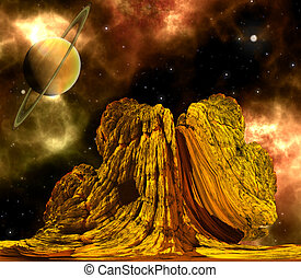 Alien Rock with space background and a brown planet