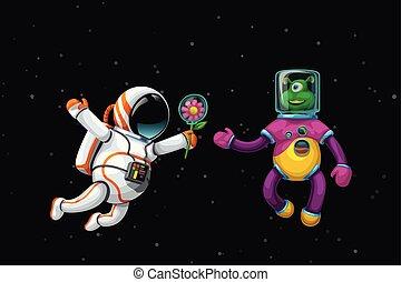 alien, ruimtevaarder, ruimte