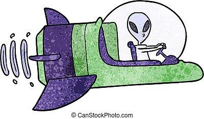 alien, ruimtevaartuig, spotprent