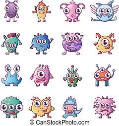 Alien scary monster icons set, cartoon style