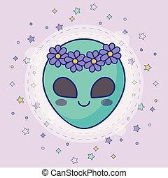 alien, schattig, gezicht, pictogram