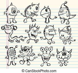 alien, schets, set, monster, schepsel