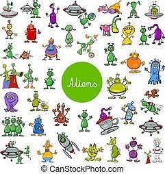 alien, set, groot, fantasie, karakters, spotprent