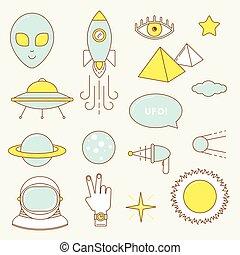Alien set of icons