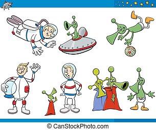 alien, set, spotprent, karakters