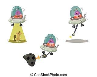 alien, set, spotprent, ufo
