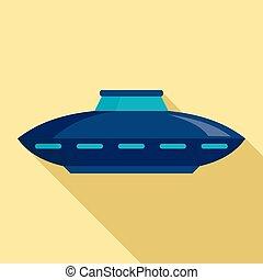Alien ship icon, flat style