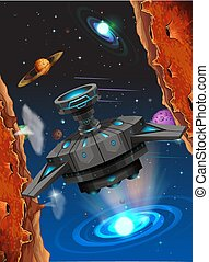 Alien ship in space scene