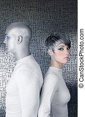 alien silver future couple silver man fashion woman...
