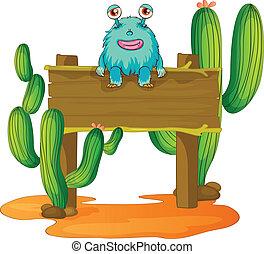 alien sitting on a board