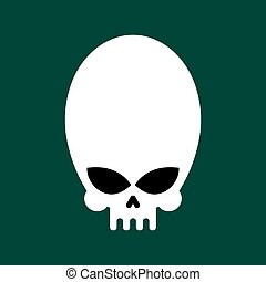 Alien skull isolated. UFO head skeleton. Vector illustration
