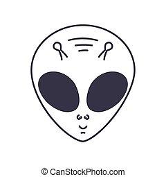 alien smiling on white background