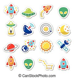 Alien, space travel icons set