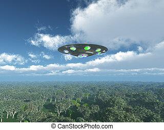 Alien Spacecraft over the jungle