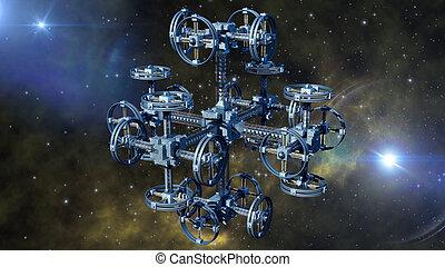 Alien spaceship - 3d Illustration of an alien spaceship with...