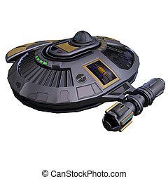 alien spaceship - an alien spacefighter. 3D render with...