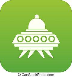Alien spaceship icon digital green