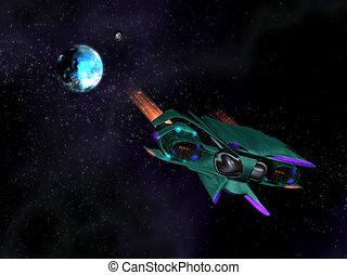 Alien spaceship in action in space