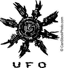 Alien spaceship octopus behind. Vector illustration.