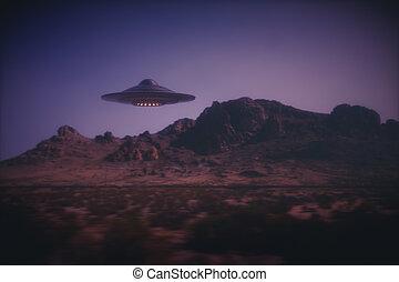 alien, spaceship, op, aarde