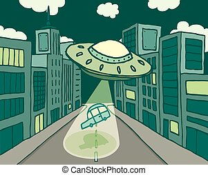 Alien spaceship or UFO abducting a car in the city
