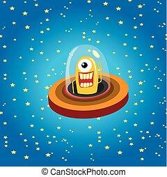 alien, spaceship, ., oranjekleurige vreemdeling, in, ruimte, vector.