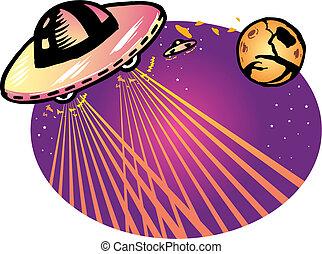 Alien spaceship vector illustration background