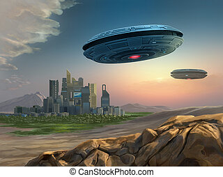 Alien spaceships approaching a city