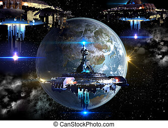 Alien spaceship fleet nearing Earth, for futuristic, fantasy or interstellar deep space travel or video-game war backgrounds.