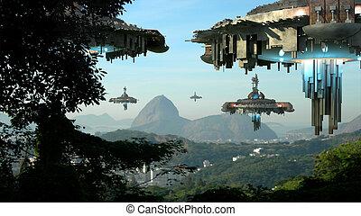 Alien spaceships invading Rio - Alien spaceship fleet...