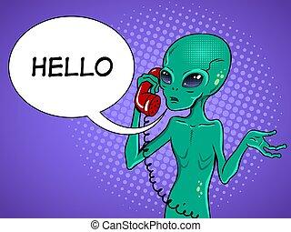 Alien speaking on phone pop art vector