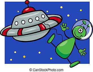 alien, spotprent, illustratie, ufo