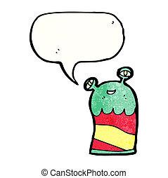 alien, spotprent, vriendelijk