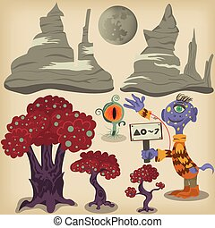 Alien surface elements - Cartoon vector illustration of an...