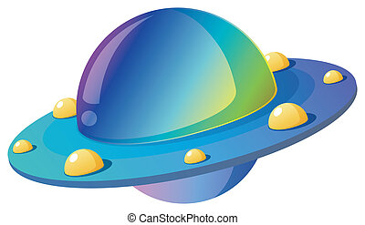 Alien sweethearts - Cartoon illustration of a flying saucer...