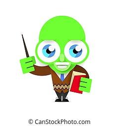 alien teacher vector illustration on white background