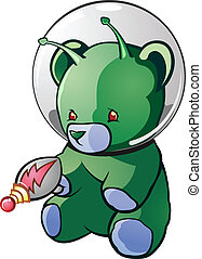 Alien Teddy Bear Cartoon Character