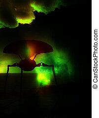 An alien tripod against a dark green abstract sky.
