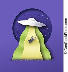 Alien abduction illustration, 3D paper cut craft style. UFO spaceship abducting man in night sky scene. Mystery event, web error or unusual sci-fi  fantasy concept.