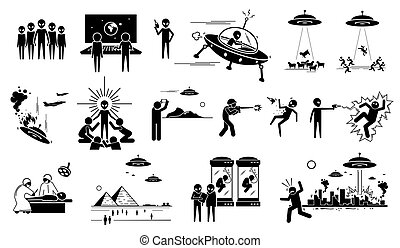 Alien UFO invasion on human in planet Earth.