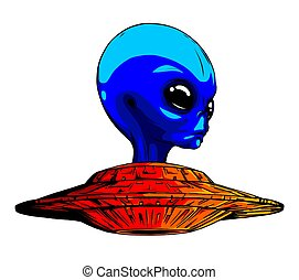 Alien ufo invasion vector illustration