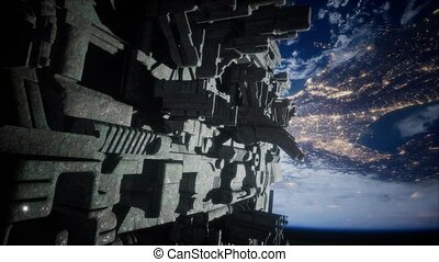 Alien UFO near Earth, like spaceship armada, for futuristic, fantasy or interstellar deep space travel backgrounds. elements of this image furnished by NASA