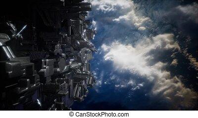 Alien UFO near Earth, like spaceship armada, for futuristic,...