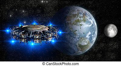 Alien UFO nearing Earth