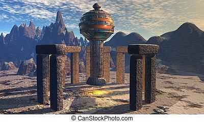 alien, ufo, scheeps , in, futuristisch, landscape