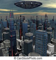 alien UFO ship in futuristic landscape
