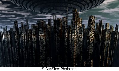 alien UFO space ship above night city