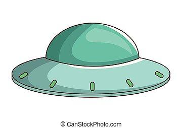 alien, ufo, spotprent, spaceship